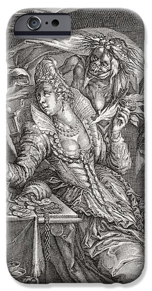 Seventeenth Century iPhone Cases - Vanitas With Death And A Maiden, After Jacob De Gheyn.  From Illustrierte Sittengeschichte Vom iPhone Case by Bridgeman Images