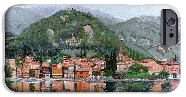 Italian Landscape iPhone Cases - Varenna, Lake Como, Italy, 2004 Oil On Canvas iPhone Case by Trevor Neal