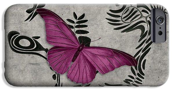Fushia iPhone Cases - Variation sur un meme Theme - s05 Papillon Pink iPhone Case by Variance Collections