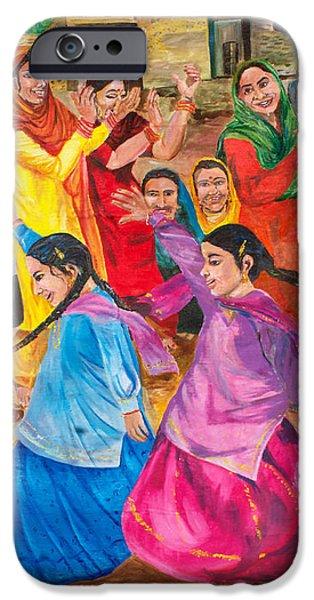 Village iPhone Cases - Vasakhi in a Punjab village iPhone Case by Sarabjit Singh
