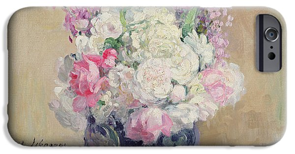 Pottery Paintings iPhone Cases - Vase of Flowers iPhone Case by Henri Lebasque
