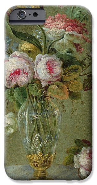 In Bloom Paintings iPhone Cases - Vase of flowers on a table iPhone Case by Michel Bellange