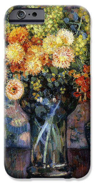 Vase of Flowers iPhone Case by Theo van Rysselberghe