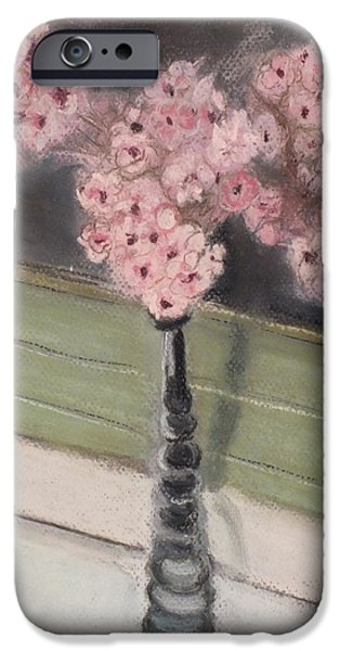 Ledge Pastels iPhone Cases - Vase of Pink Flowers on Windowsill iPhone Case by Laura Sullivan