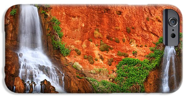 Red Rock iPhone Cases - Vaseys Paradise Twin Falls iPhone Case by Inge Johnsson