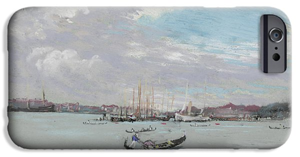 Harbor Drawings iPhone Cases - Vast Lagoon outside Venice circa 1901 iPhone Case by Aged Pixel
