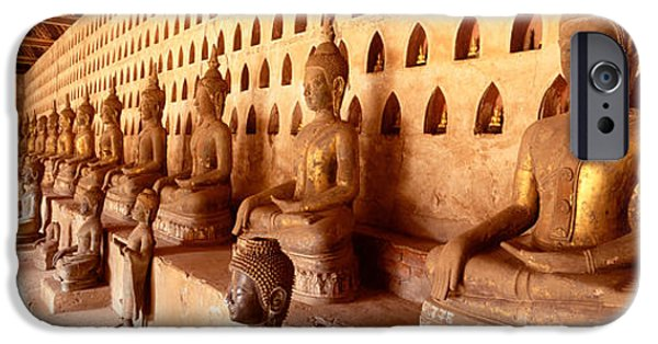 Buddhist iPhone Cases - Vat Si Saket, Vientiane, Laos iPhone Case by Panoramic Images
