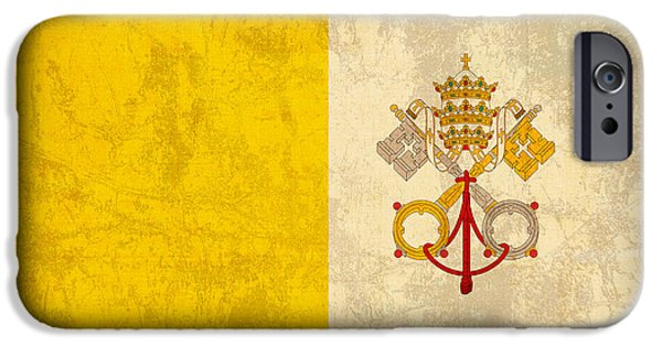 Vatican iPhone Cases - Vatican City Flag Vintage Distressed Finish iPhone Case by Design Turnpike