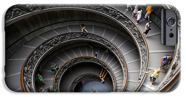 Vatican iPhone Cases - Vatican Spiral Staircase iPhone Case by Inge Johnsson