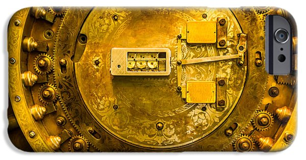 Gear Pyrography iPhone Cases - Vault Door iPhone Case by Eric Bott