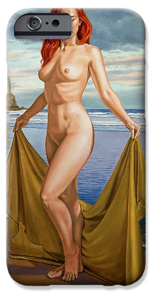 Figures Paintings iPhone Cases - Vaunt at the Beach iPhone Case by Paul Krapf