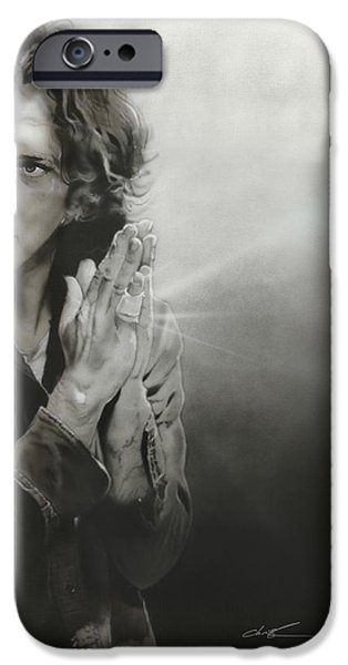 Pearl Jam Paintings iPhone Cases - Vedder IV iPhone Case by Christian Chapman Art