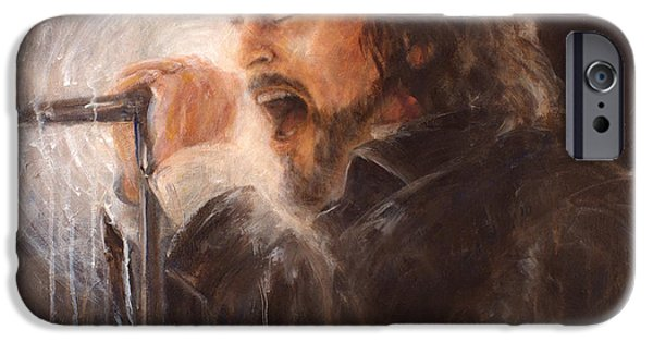 Pearl Jam Paintings iPhone Cases - Vedder Spot iPhone Case by Josh Hertzenberg