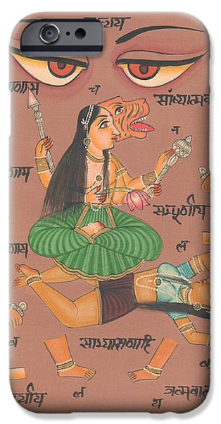 Tantrik Art iPhone Cases - Vedic Artwork Hindu Goddess Durga Miniature Painting India Handmade Aertwork iPhone Case by A K Mundhra