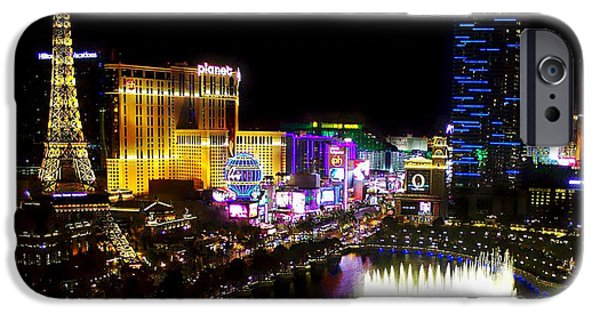 Las Cruces Digital iPhone Cases - Vegas at Night iPhone Case by Barbara Chichester