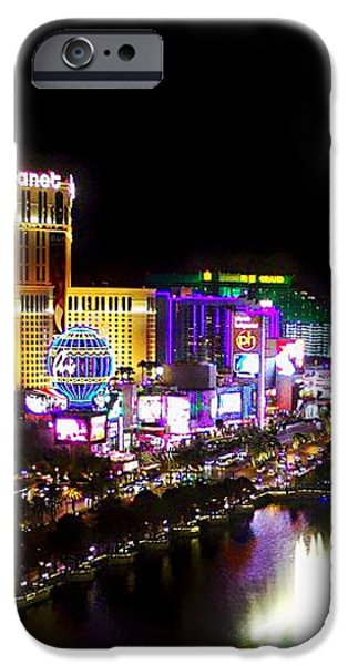 Vegas at Night iPhone Case by Barbara Chichester
