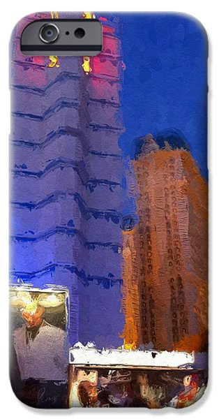 Buildings Mixed Media iPhone Cases - Vegas Ballys Hotel iPhone Case by Lin Pacific