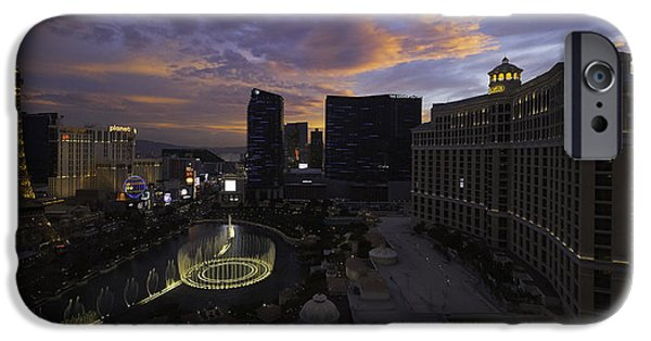 Buildings iPhone Cases - Vegas by Night iPhone Case by Chad Dutson