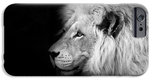 Vegas iPhone Cases - Vegas Lion - Black and White iPhone Case by Ian Monk