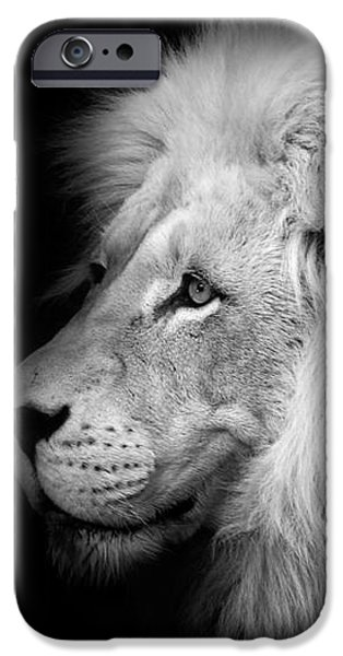 Vegas Lion - Black and White iPhone Case by Ian Monk