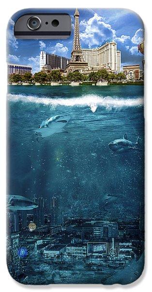 Music Map Digital Art iPhone Cases - Las Vegas Sharks iPhone Case by Nicholas  Grunas