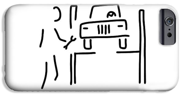 Mechanics Drawings iPhone Cases - Vehicle Mechanic Car iPhone Case by Lineamentum