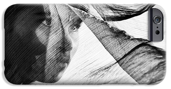 Indian Girl iPhone Cases - Veil and Shadow  iPhone Case by Tim Gainey