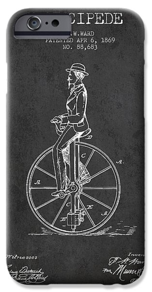 Sled iPhone Cases - Velocipede Patent Drawing from 1869- Dark iPhone Case by Aged Pixel