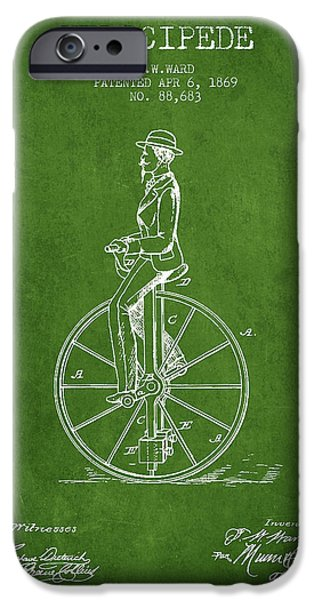 Sled iPhone Cases - Velocipede Patent Drawing from 1869- Green iPhone Case by Aged Pixel
