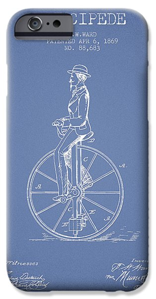 Sled iPhone Cases - Velocipede Patent Drawing from 1869- Light Blue iPhone Case by Aged Pixel