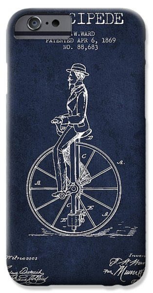 Sled iPhone Cases - Velocipede Patent Drawing from 1869- navy Blue iPhone Case by Aged Pixel