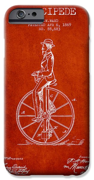 Sled iPhone Cases - Velocipede Patent Drawing from 1869- Red iPhone Case by Aged Pixel