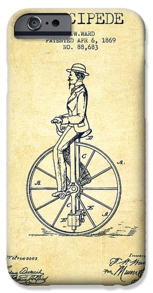 Sled iPhone Cases - Velocipede Patent Drawing from 1869- Vintage iPhone Case by Aged Pixel