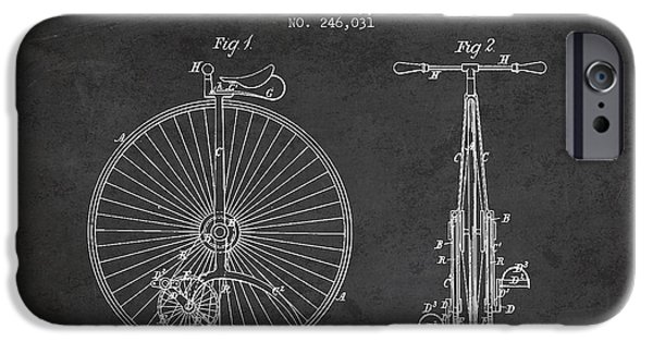 Sled iPhone Cases - Velocipede Patent Drawing from 1881 - Dark iPhone Case by Aged Pixel