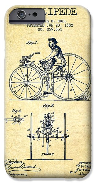 Sled iPhone Cases - Velocipede Patent Drawing from 1882 - Vintage iPhone Case by Aged Pixel