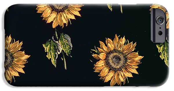 Fabric iPhone Cases - Velours Au Sabre Silk Decoration Of Sunflowers By Maison Ogier And Duplan, Lyon 1894 Textile iPhone Case by French School