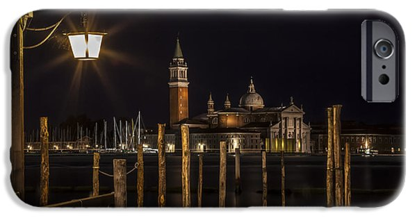 San Marco iPhone Cases - VENICE San Giorgio Maggiore at Night iPhone Case by Melanie Viola