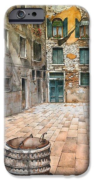 Venetian Doors iPhone Cases - Venetian courtyard 02 Elena Yakubovich iPhone Case by Elena Yakubovich
