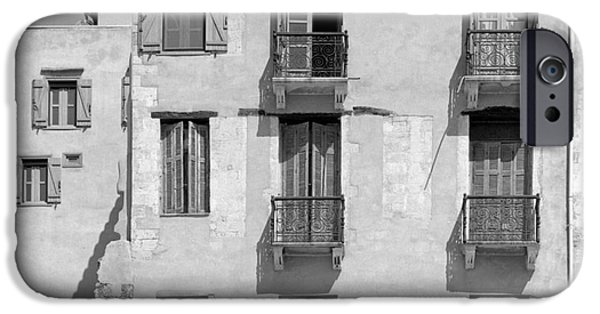 Venetian Balcony iPhone Cases - Venetian era architecture in Chania iPhone Case by Paul Cowan