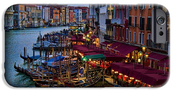Interface iPhone Cases - Venetian Grand Canal at Dusk iPhone Case by David Smith