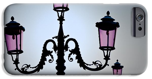 Streetlight Photographs iPhone Cases - Venetian Lamps iPhone Case by Dave Bowman