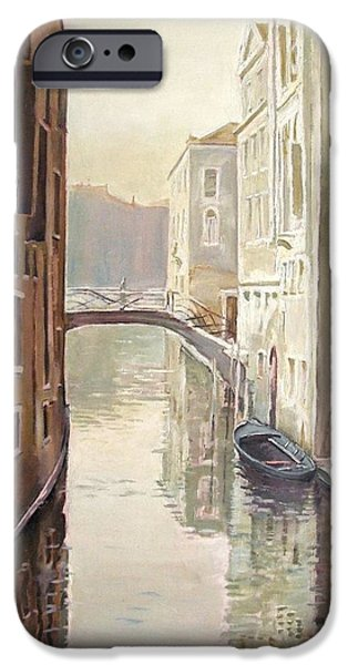 Venetian Canals iPhone Cases - Venetian Life Oil On Canvas iPhone Case by Kevin Parrish