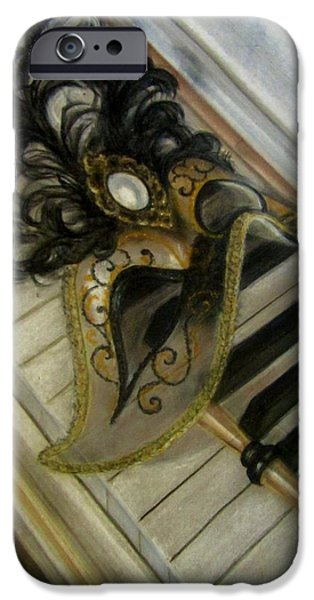 Piano Pastels iPhone Cases - Venetian mask on Piano  iPhone Case by Gea Scheltinga