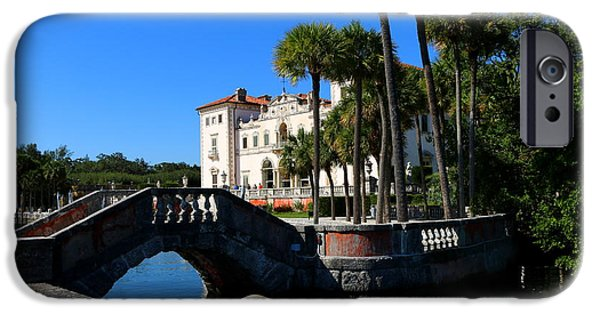 Bay Bridge iPhone Cases - Venetian Style Bridge And Villa In Miami iPhone Case by Christiane Schulze Art And Photography