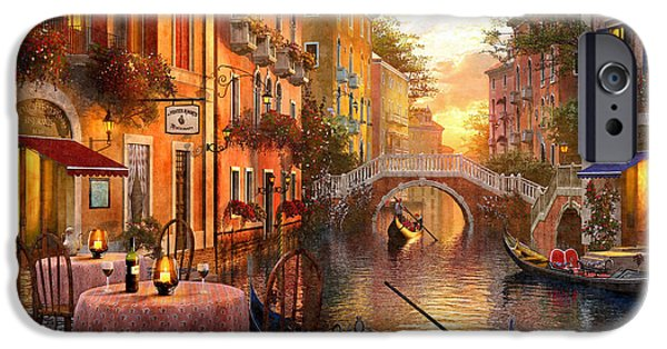 Romantic Digital iPhone Cases - Venetian Sunset iPhone Case by Dominic Davison