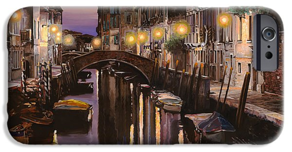 Boats iPhone Cases - Venezia al crepuscolo iPhone Case by Guido Borelli