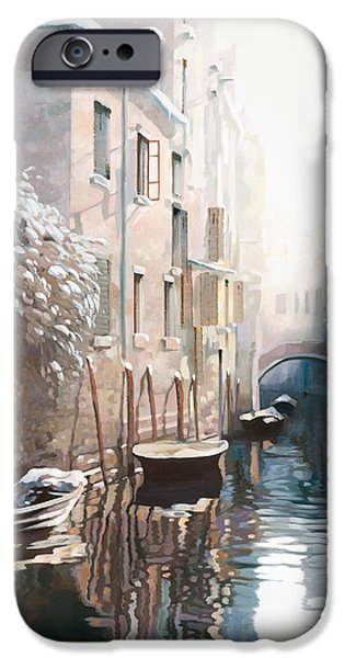Cold Paintings iPhone Cases - Venezia sotto la neve iPhone Case by Guido Borelli