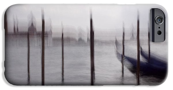 Wall Greeting Cards Digital iPhone Cases - Abstract Black And White Blue Venice Italy Photography Art Work iPhone Case by Artecco Fine Art Photography