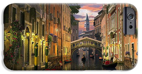 Romantic Digital iPhone Cases - Venice at Dusk iPhone Case by Dominic Davison