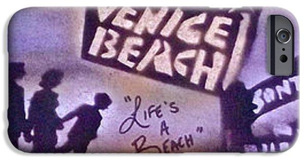 Kobe Paintings iPhone Cases - Venice Beach to Santa Monica Pier iPhone Case by Tony B Conscious